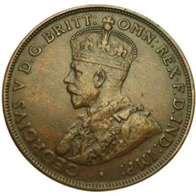 1920 Plain Australia King George V Penny Copper Coin