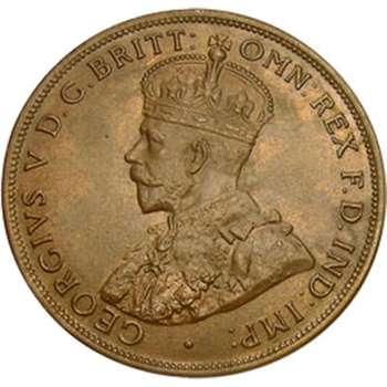 1924 Australia King George V Penny Copper Coin