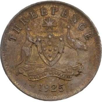 1925 Australia King George V Threepence Silver Coin