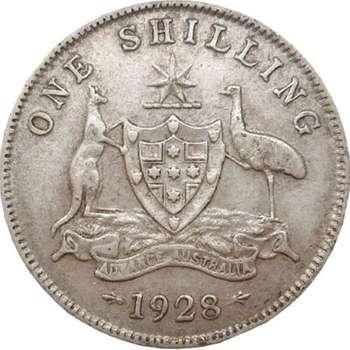 1928 Australia King George V Shilling Silver Coin