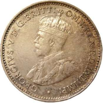 1934 Australia King George V Threepence Silver Coin
