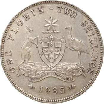 1935 Australia King George V Florin Silver Coin