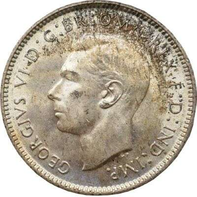 1942 D Australia King George VI Sixpence Silver Coin