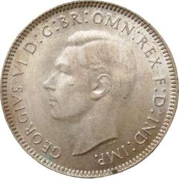 1943 Australia King George VI Shilling Silver Coin