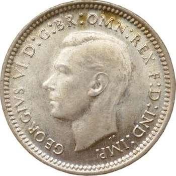 1943 D Australia King George VI Threepence Silver Coin
