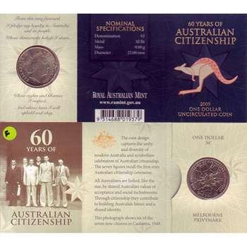 2009 M Australia 60 Years of Australian Citizenship One Dollar Uncirculated