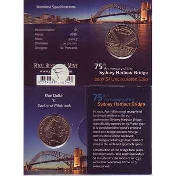 2007 C Australia Sydney Harbour Bridge One Dollar Uncirculated