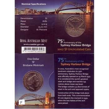 2007 B Australia Sydney Harbour Bridge One Dollar Uncirculated