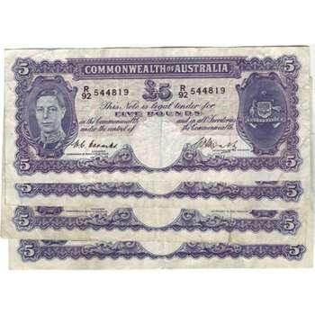1941-1952 Australia Five Pounds King George VI Australian Predecimal Banknote