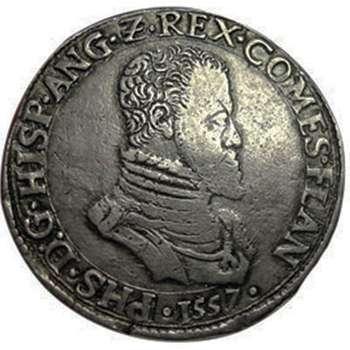1557 France Flandre Ecu Silver Coin