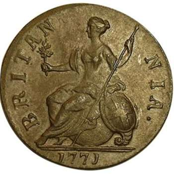 1771 Great Britain King George III Halfpenny Copper Coin