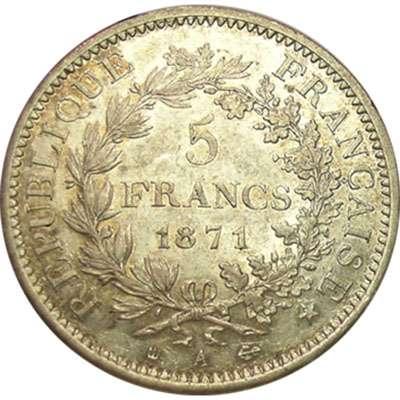 1871 A France 5 Franc Silver Coin