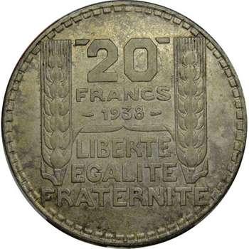 1938 France Third Republic 20 Francs Silver Coin