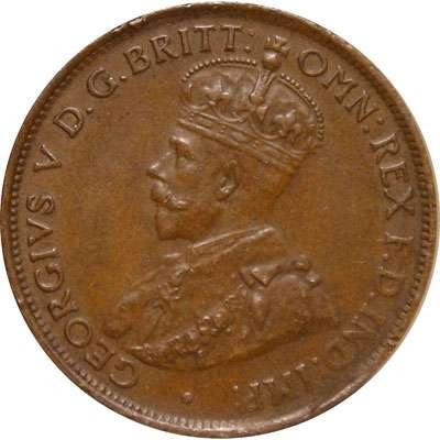 1927 Australia King George V Half Penny Copper Coin