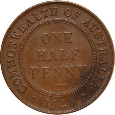 1926 Australia King George V Half Penny Copper Coin