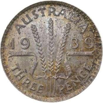 1939 Australia King George VI Threepence Silver Coin