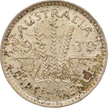 1938 Australia King George VI Threepence Silver Coin