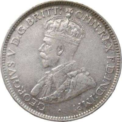 1928 Australia King George V Sixpence Silver Coin