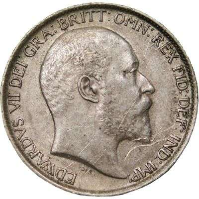 1906 Great Britain King Edward VII Sixpence Silver Coin