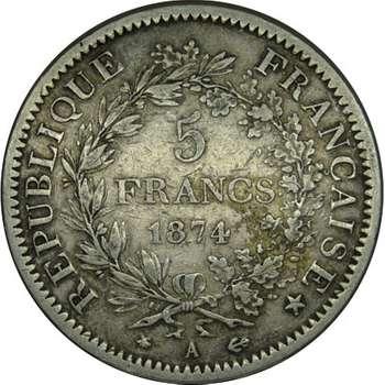1874 A France Third Republic 5 Franc Silver Coin