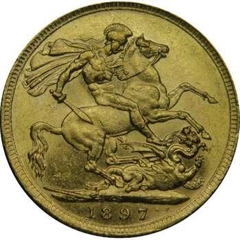 1897 S Australia Victoria Veil Head St George Sovereign Gold Coin