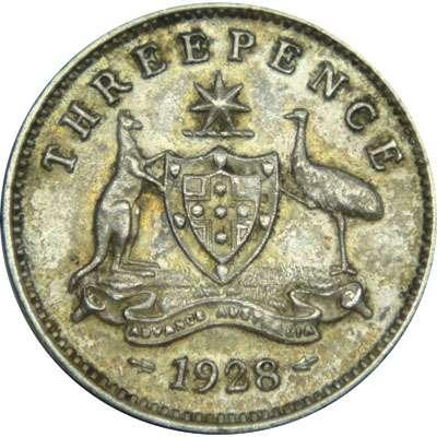 1928 Australia King George V Threepence Silver Coin