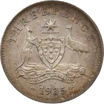 1935 Australia King George V Threepence Silver Coin
