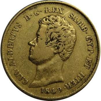 1849 P Italian States Sardinia Carlo Alberto 20 Lire Gold Coin