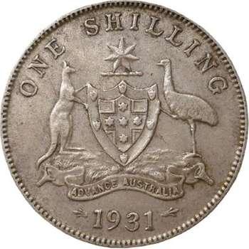 1931 Australia King George V Shilling Silver Coin