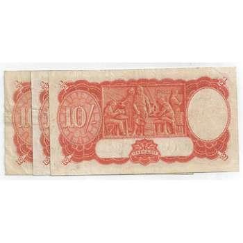 1939-1954 Australia Hand Picked Nice Quality King George VI Ten Shillings Australian Predecimal Banknote