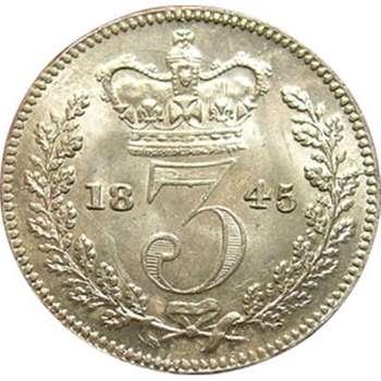 1845 Great Britain Victoria Threepence Silver Coin