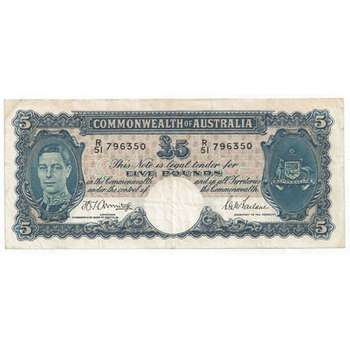 1941 Australia R. 46 Five Pounds King George VI Armitage/ McFarlane Australian Predecimal Banknote
