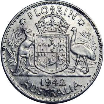 1942 Australia S King George VI Florin Silver Coin