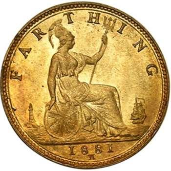 1881 H Great Britain Queen Victoria Farthing Bronze Coin