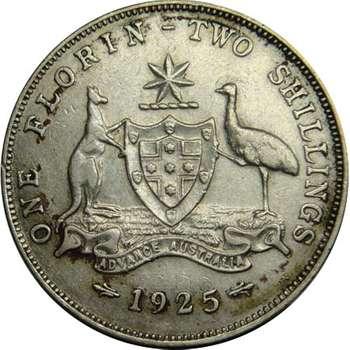 1925 Australia King George V Florin Silver Coin