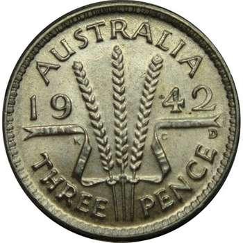 1942 D Australia King George VI Threepence Silver Coin