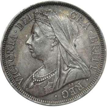 1900 Great Britain Queen Victoria Veil Head Half Crown Silver Coin