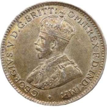 1919 M Australia King George V Threepence Silver Coin