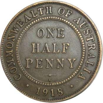 1918 I Australia King George V Half Penny Copper Coin
