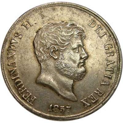 1857 Italy Naples & Sicily 120 Grana Silver Coin