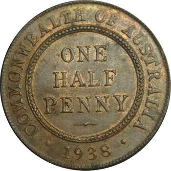 1938 Australia King George VI Half Penny Copper Coin
