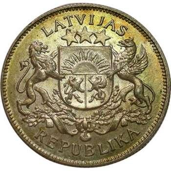 1925 Latvia 2 Lati Silver Coin