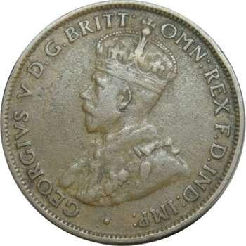 1924 Australia King George V Half Penny Copper Coin