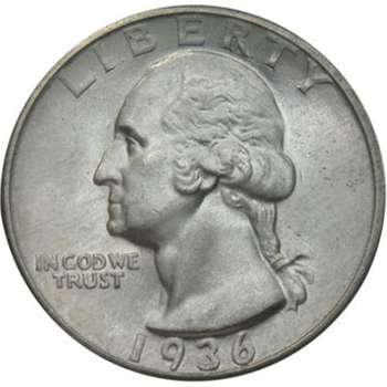 1936 USA Washington Quarter Silver Coin