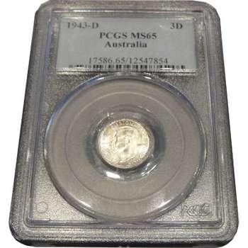 1943 D Australia King George VI Threepence PCGS MS65