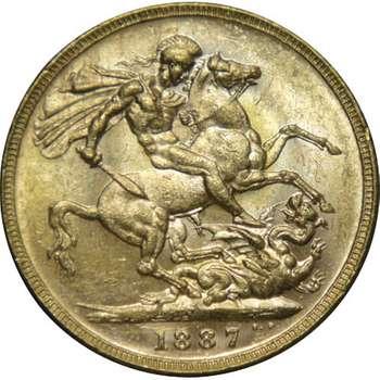 1887 M Australia Victoria Jubilee Head St George Gold Sovereign Coin