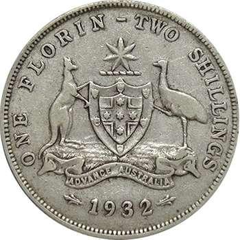 1932 Australia King George V Florin Silver Coin