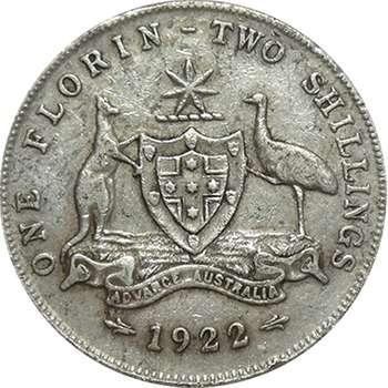 1922 Australia King George V Florin Silver Coin