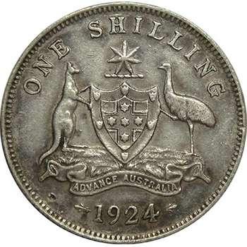 1924 Australia King George V Shilling Silver Coin