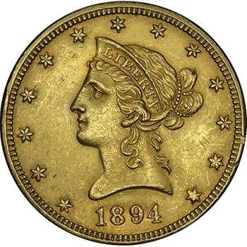 1894 USA Liberty Head Ten Dollars Gold Coin